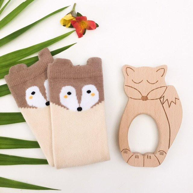 FOX & OWL Beech Wood Teether and Baby Socks Gift Set - Teethers - ONE.CHEW.THREE Boutique teething, modern accessories