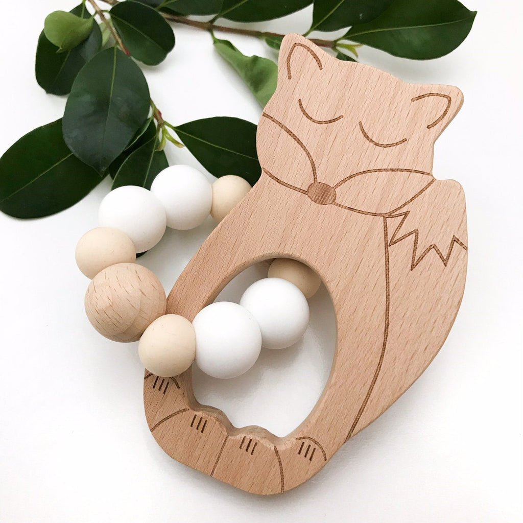 FOX, OWL or BEAR Silicone and Beech Wood Teether **Sample Sale** - Teethers - ONE.CHEW.THREE Boutique teething, modern accessories