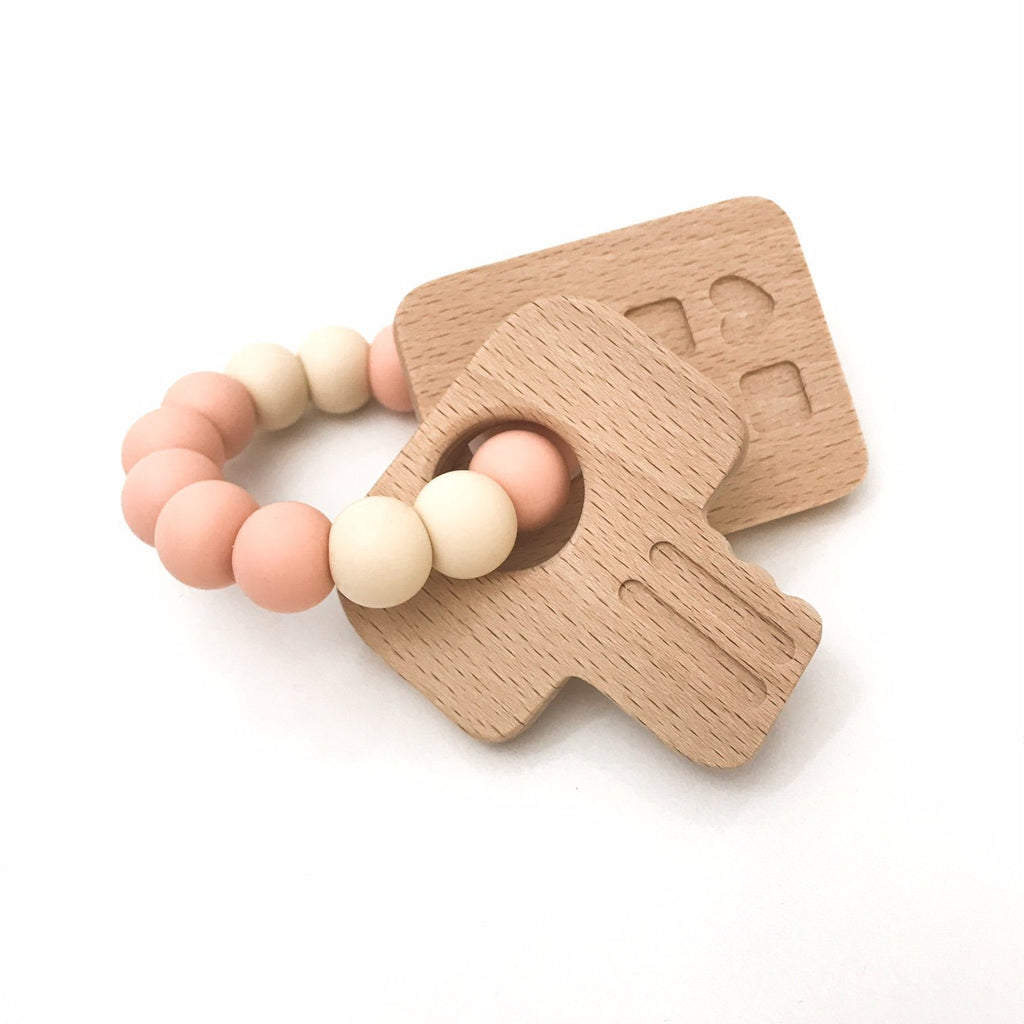 KEYS TO MY HEART Silicone and Beech Wood Teether - Teethers - ONE.CHEW.THREE Boutique teething, modern accessories