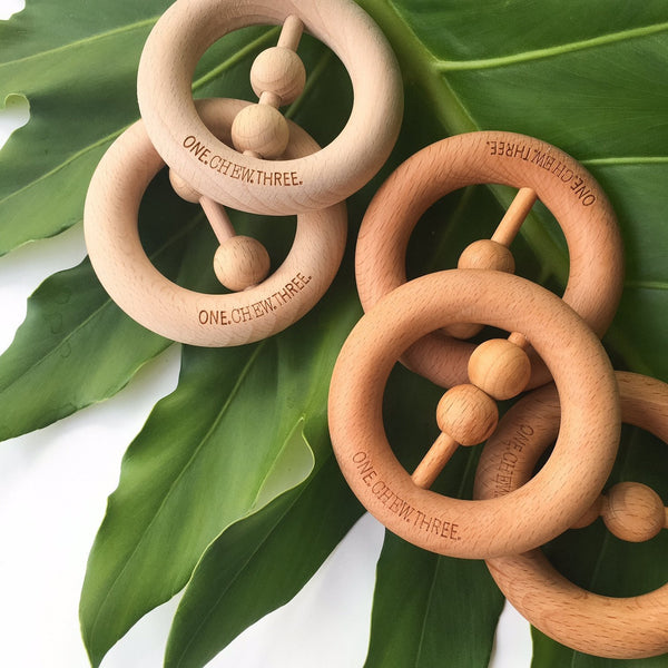 Natural Beech Wood Rattle Teether - Teethers - ONE.CHEW.THREE Boutique teething, modern accessories