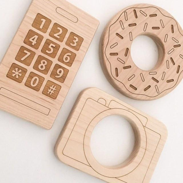 Natural Wooden Teething Toys - Teethers - ONE.CHEW.THREE Boutique teething, modern accessories