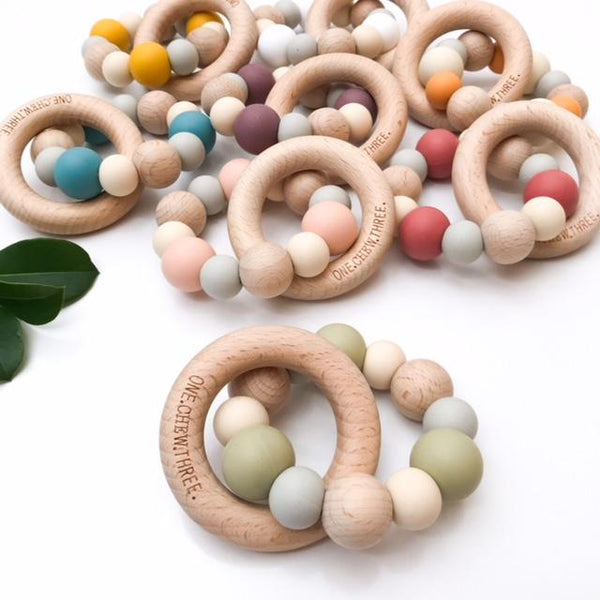 NATURALS Silicone and Beech Wood Teether - Teethers - ONE.CHEW.THREE Boutique teething, modern accessories