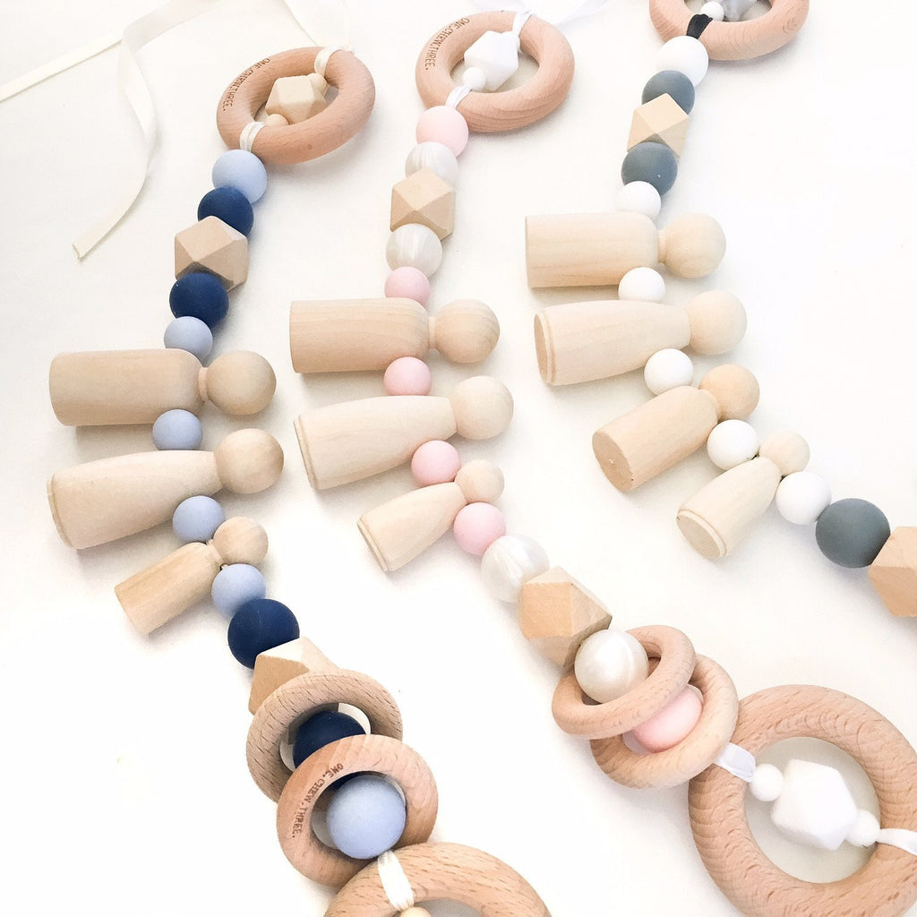 OUR FAMILY Pram Garland - Teethers - ONE.CHEW.THREE Boutique teething, modern accessories