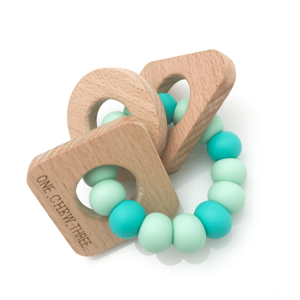 SHAPES Silicone and Beech Wood Teether - Teethers - ONE.CHEW.THREE Boutique teething, modern accessories