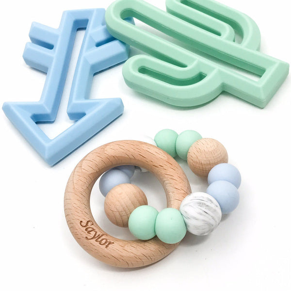 SINGLE RATTLE (Marble Accent) Silicone and Beech Wood Teether - Teethers - ONE.CHEW.THREE Boutique teething, modern accessories
