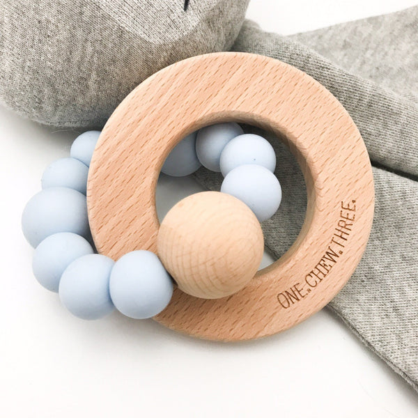 SOLAR Silicone and Beech Wood Teether - Teethers - ONE.CHEW.THREE Boutique teething, modern accessories