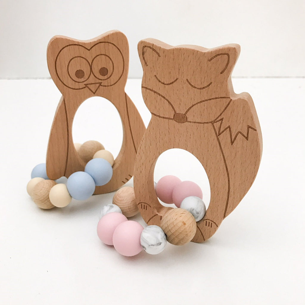 Woodland FOX, OWL or BEAR Silicone and Beech Wood Teether - Teethers - ONE.CHEW.THREE Boutique teething, modern accessories