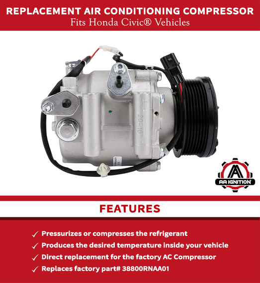 Replacement AC Compressor - Replaces 38810RRBA01 for Honda Civic