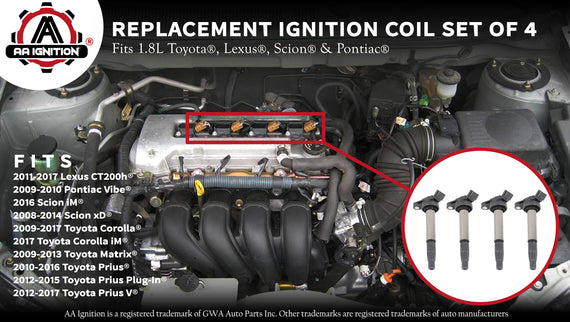 toyota 1 8l engine diagram ignition coil pack set of 4 fits 1 8l l4 toyota replaces  ignition coil pack set of 4 fits 1 8l