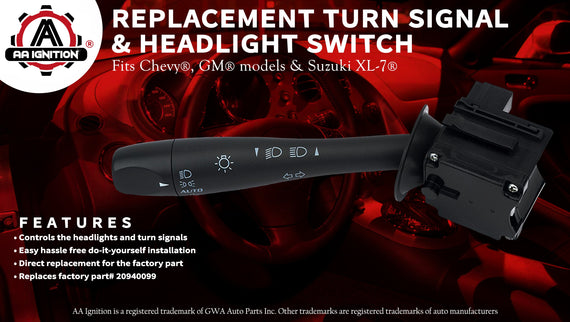 Part# 20940099 Replacement for Chevy GMC Turn Signal /& Headlamp Dimmer Switch