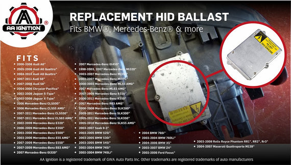 HID Headlight Ballast - Replaces# 63126907488 - Fits