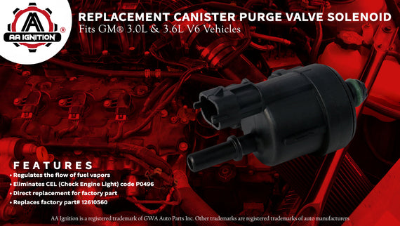 Canister Purge Valve - Replaces 12610560 - Fits 3 0L, 3 6L