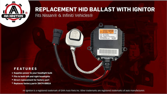NZMNS111LANA Xenon HID Headlight Ballast Control Unit Module with Ignitor and Power Wiring Harness Replace for 28474-8991A,28474-89904,Fit for Nissan Murano,Maxima,Altima,350Z,Infiniti QX56,G35,FX35
