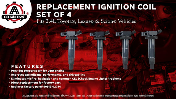 Ignition Coil Set of 4 - Replaces# 90919-02244, UF333 - For Toyota
