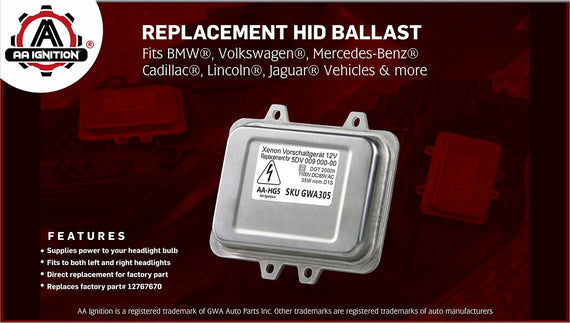 HID Headlight Ballast - Replaces# 12767670 - Fits BMW