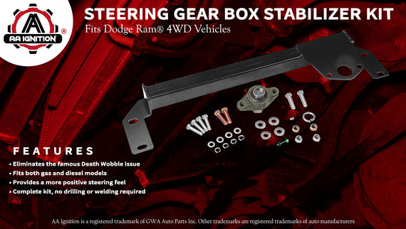 Gear Box Stabilizer for 2009 Supreme Suspensions Dodge Ram 2500 3500 Death Wobble Fix Steering Gear Box Stabilizer High Strength Steel Kit 4WD