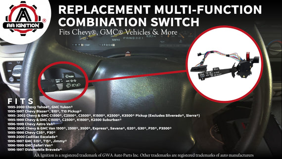 for 03-07 CHEVROLET SILVERADO TAHOE GMC SIERRA YUKON Replaces OEM 12450067 2330856 71093 Combination Switch Windshield Wiper + Turn Signal + Headlamp Dimmer + Cruise Control