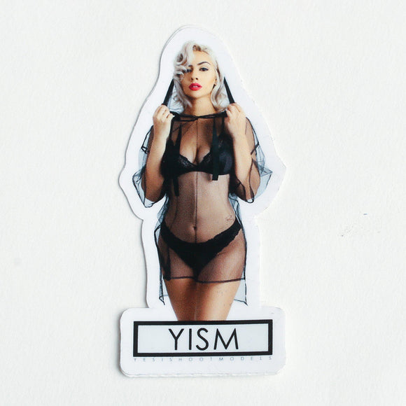 sticker, model, die cut, yism