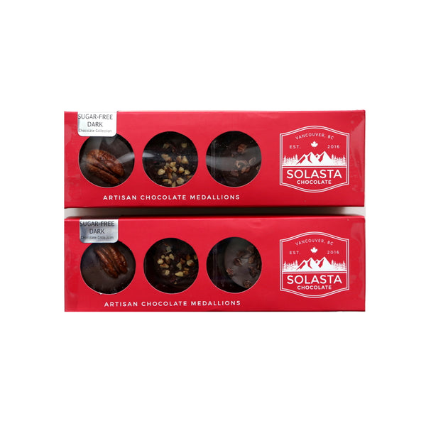 (NO SUGAR ADDED AND KETO DIET CHOCOLATE) Artisan Chocolate Medallions - Sugar-Free Dark (Set of 2 boxes) - Solasta Chocolate, Vancouver