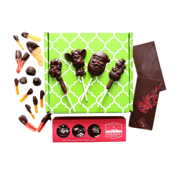 (Vegan & NO GLUTEN ADDED) Holiday Dark Chocolate Collection Gift Set - Solasta Chocolate, Vancouver