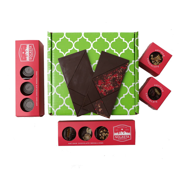 (Vegan & NO GLUTEN ADDED) Dark Chocolate Collection Gift Set - Solasta Chocolate, Vancouver