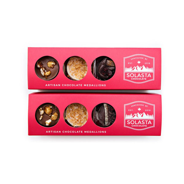 (NO GLUTEN ADDED) Artisan Chocolate Medallions - Assorted (Set of 2 boxes) - Solasta Chocolate, Vancouver