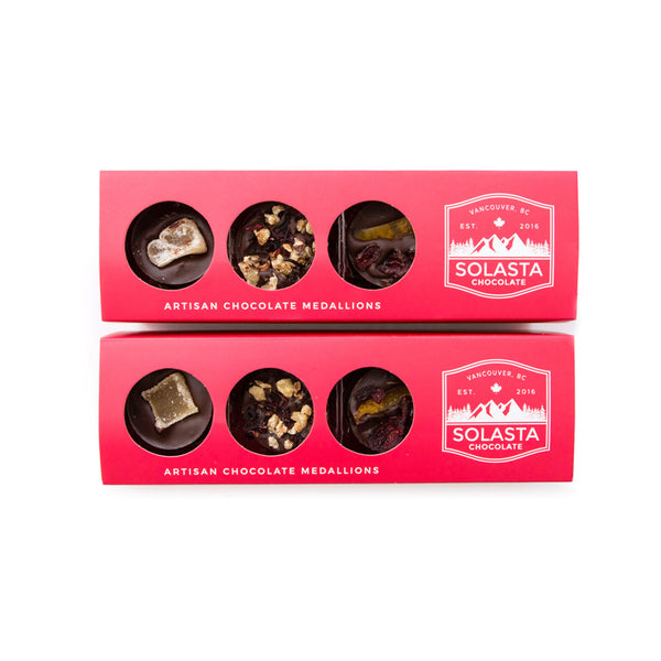(VEGAN & NO GLUTEN ADDED) Artisan Dark Chocolate Medallions (Set of 2 boxes) - Solasta Chocolate, Vancouver