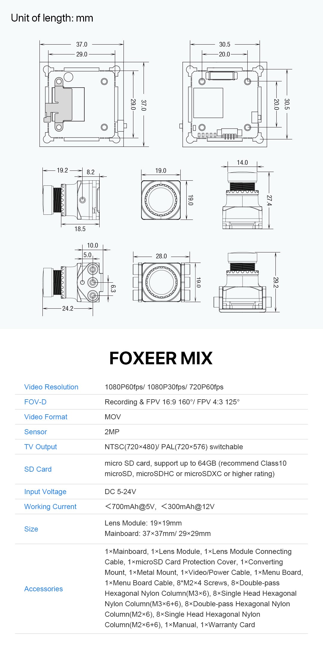 Foxeer Mix 1080p 60fps Super WDR Mini HD FPV Camera