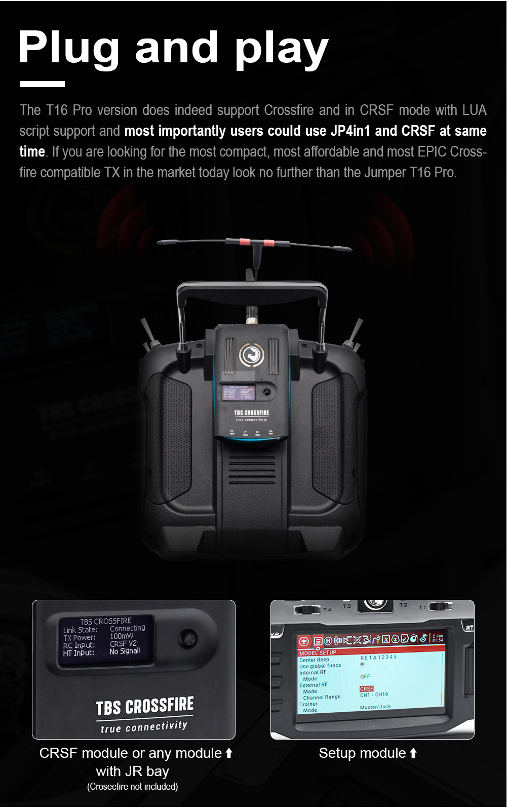 Jumper T16 Pro Hall Effect Radio With Internal Multi-Protocol Module