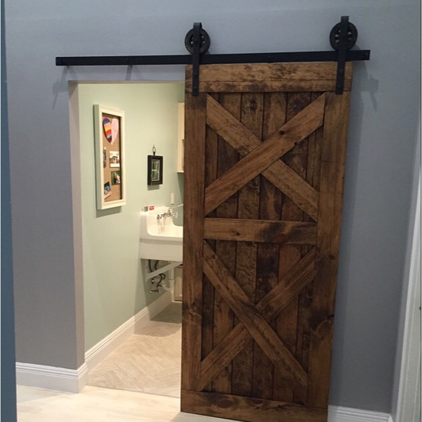 Double X Design Sliding Wood Barn Door