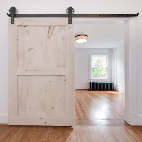 Double Panel Sliding Wood Barn Door