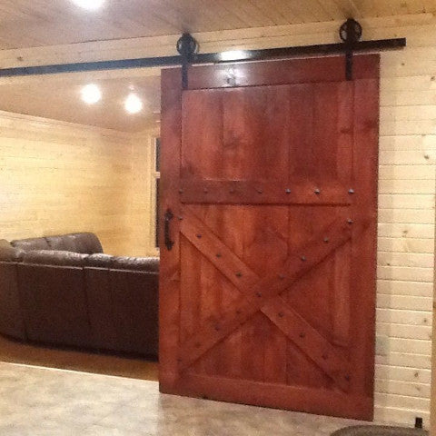 Half X Design Sliding Wood Barn Door