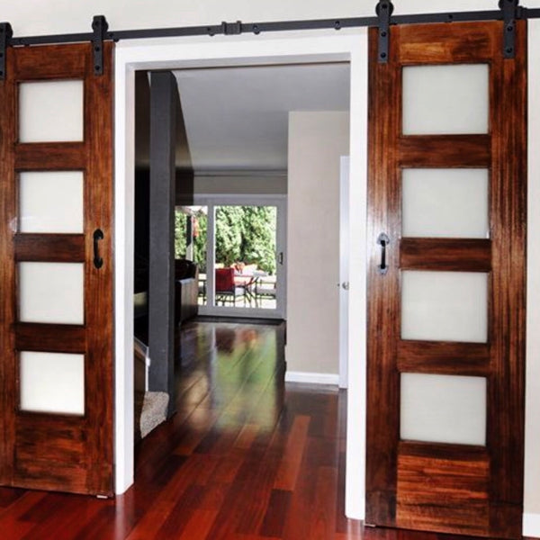 4 Panel Sliding Glass Door: 4-Panel Glass Interior Sliding Barn Door