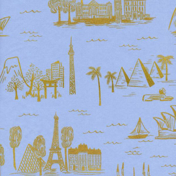 Les Fleurs City Toile Pale Blue Metallic Cotton Lawn