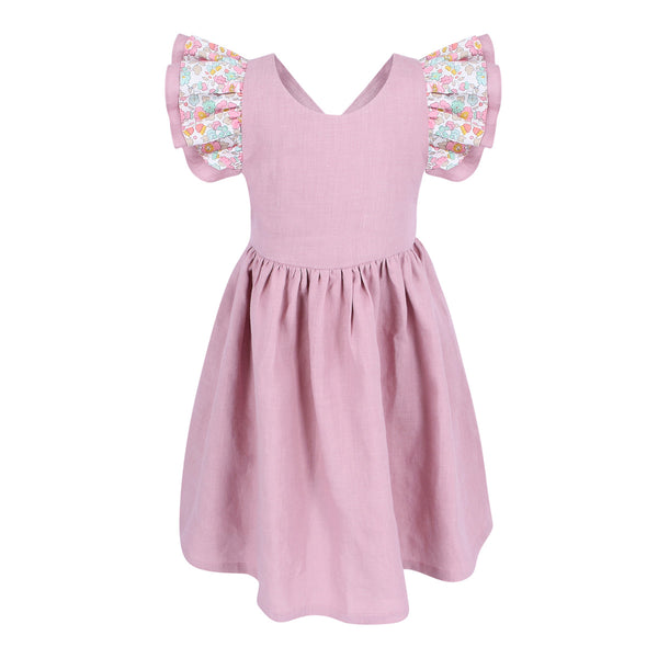 Hana Berry Cupcake Linen Dress