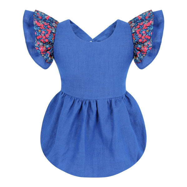 Hana Blueberry Linen Romper - Online Exclusive