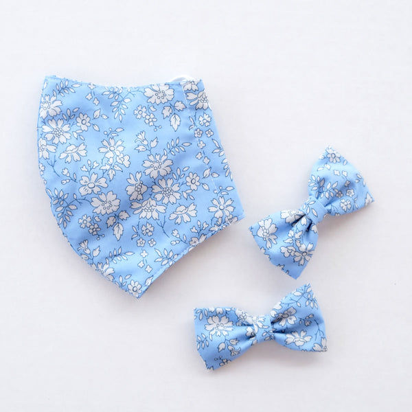 Amelia Blue Child Liberty Print Face Mask [ 3 Ply ] and Bow Hairclip Set Pre-Order