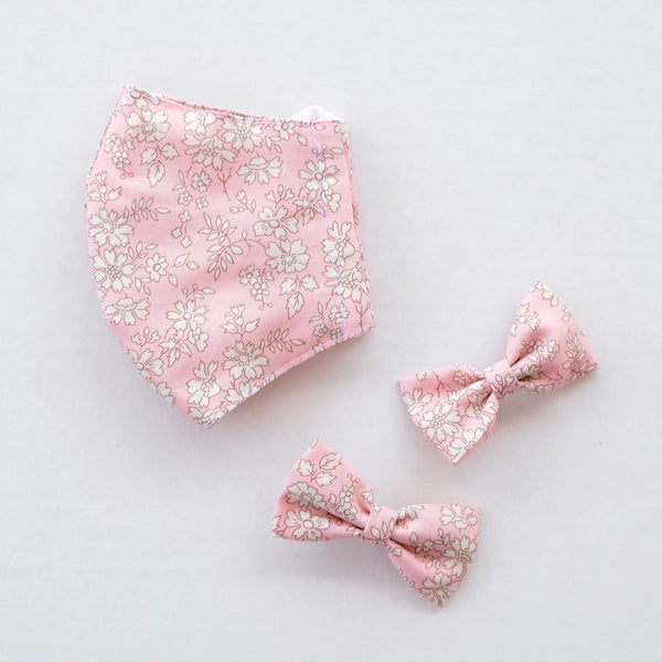 Amelia Pink Child Liberty Print Face Mask [ 3 Ply ] and Bow Hairclip Set Pre-Order