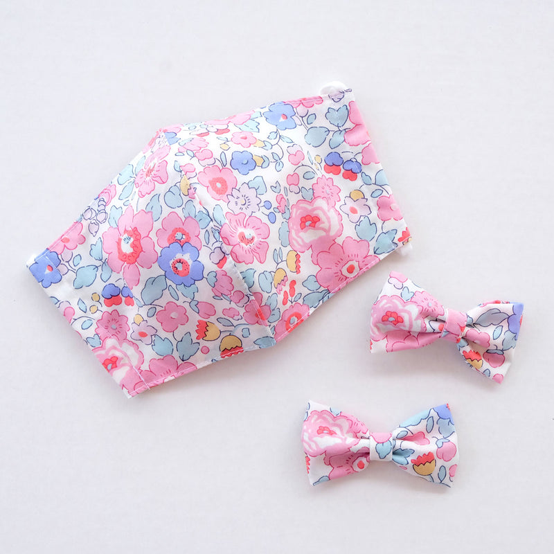 Betsy Hope Child Liberty Print Face Mask [ 3 Ply ] and Bow Hairclip Set Pre-Order - Exclusive Print