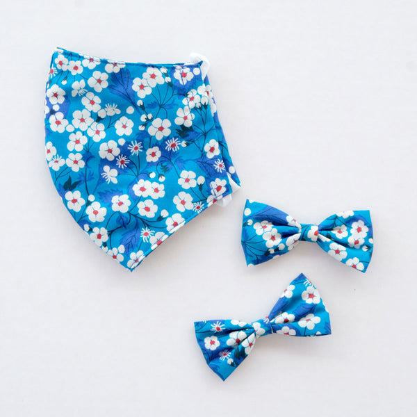 Hana Blue Child Liberty Print Face Mask [ 3 Ply ] and Bow Hairclip Set Pre-Order