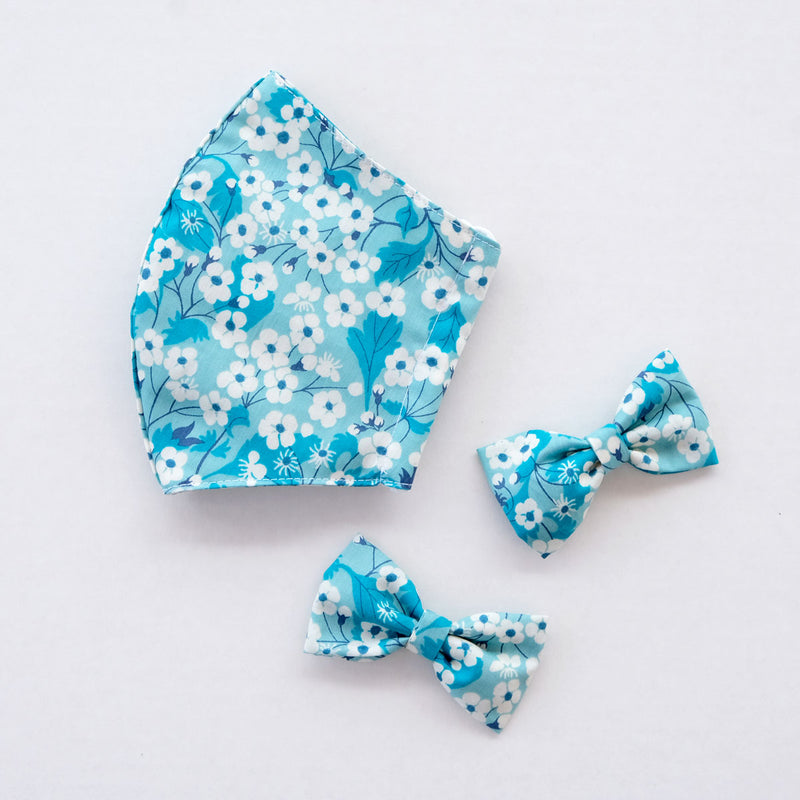 Hana Turquoise Child Liberty Print Face Mask [ 3 Ply ] and Bow Hairclip Set Pre-Order - Limited Edition