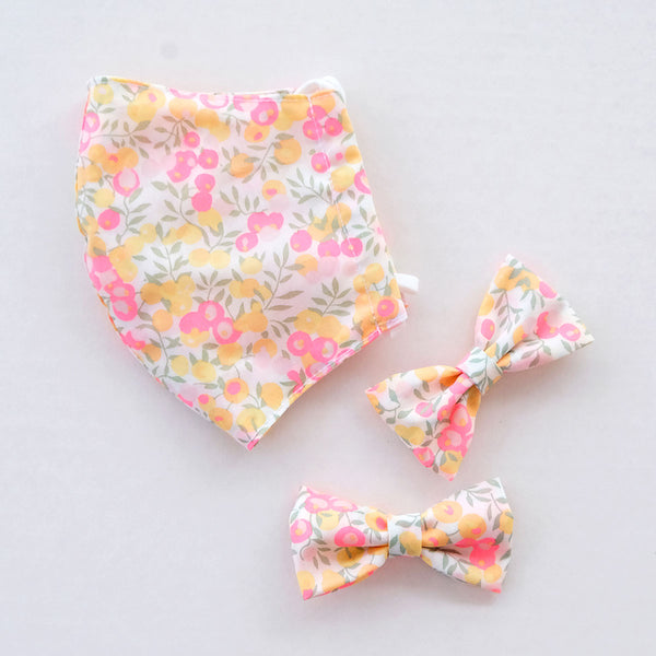 Summer Berry Child Liberty Print Face Mask [ 3 Ply ] and Bow Hairclip Set Pre-Order