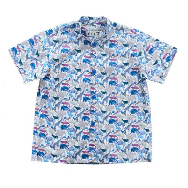 Nobu Safari Blue Mandarin Shirt