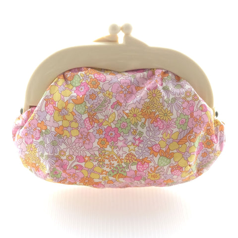 Madeline Flowers Pink Pouch - Medium Ivory Clasp