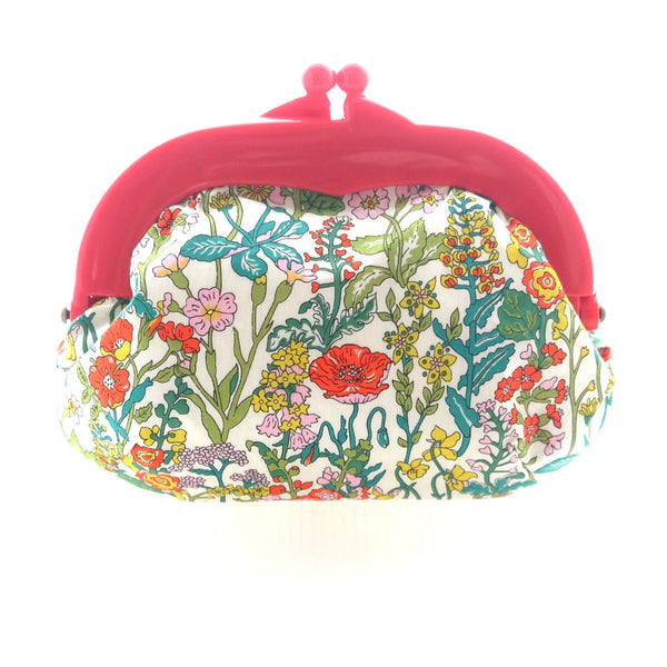 Madeline Floral Garden Pouch - Medium Red Clasp