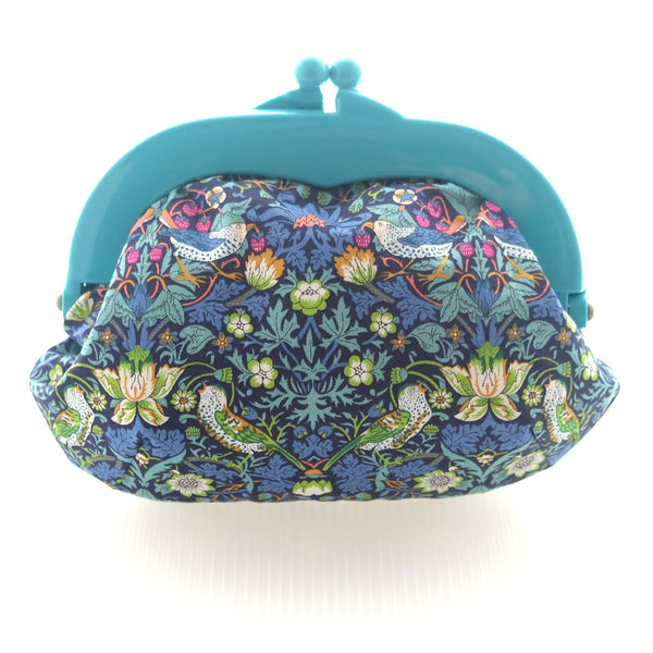 Madeline Strawberry Thief Blue Pouch - Medium Teal Clasp