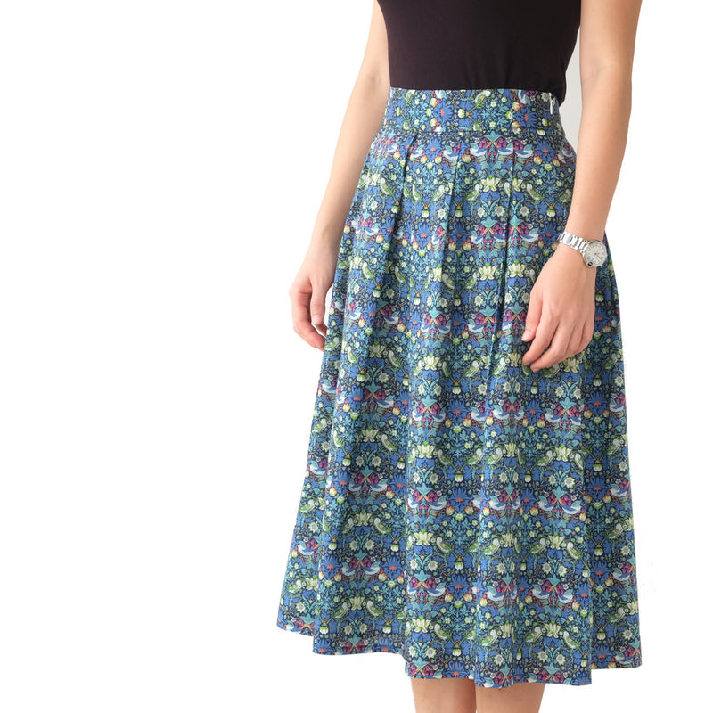 Yumi Strawberry Thief Teal Skirt - PREORDER