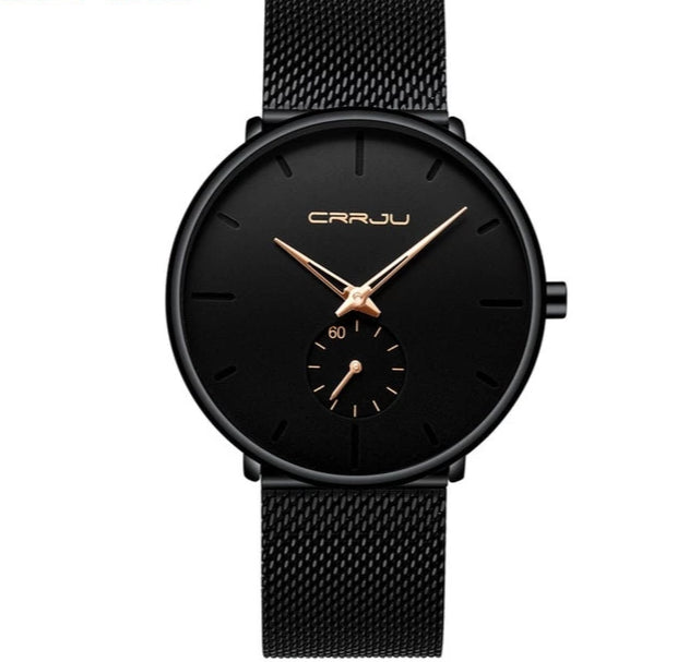 """Classic Man"" Black Steel Watch"