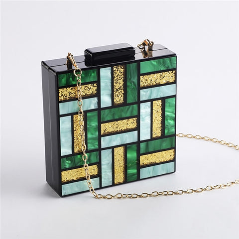 Acrylic Handbags Fashion Women Evening Bag Clutch Cute Green Gold Luxury Square Party Prom Wedding Bags Casual Vintag