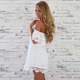 Women's Dress Casual Short-sleeved Waist Elastic Strapless Slash Neck Chiffon Lace Beach Dresses - Style Lavish